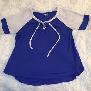 Joe Boxer Blue Jersey Style Laced Top